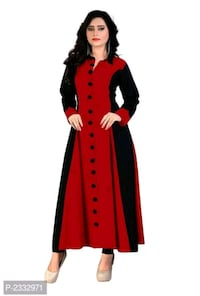 women's red and black long sleeve dress