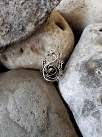 925 Sterling Silver Rose Carved Ring!  Sizes 8! Burlington