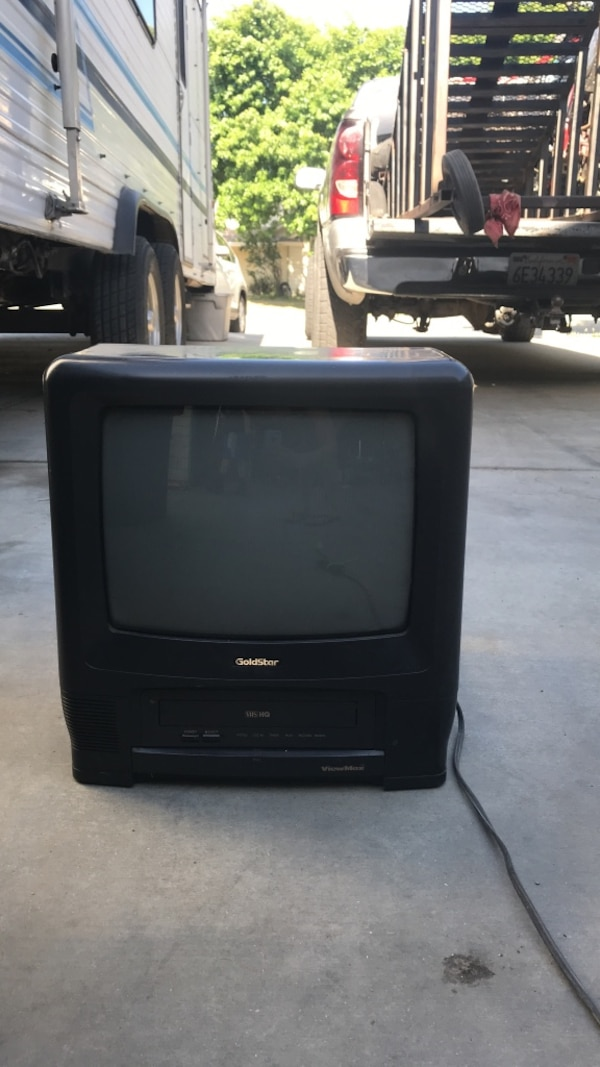 Black tv with vhs