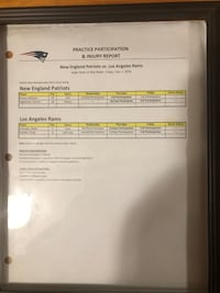 New England Patriots Super Bowl injure report!! From the Team Santa Maria, 93455