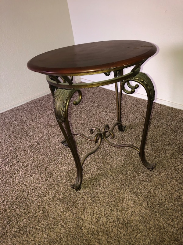 Table Set Metal Legs Wooden Brown Top Oval Coffee Circle End