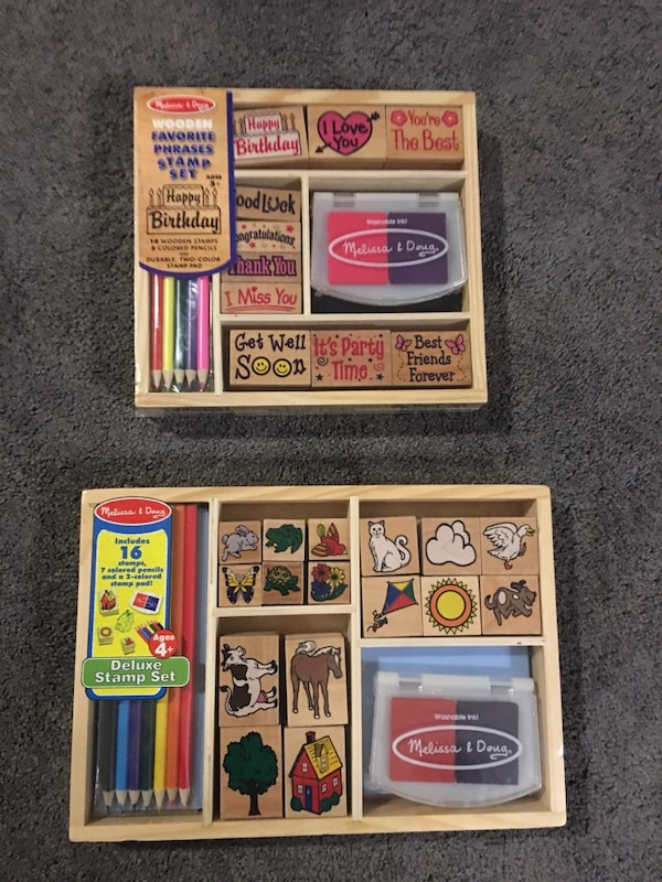 Melissa And Doug Two Brown Wooden Stamp Sets