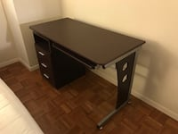 Faux Brown Wood Desk with Keyboard Tray and 3 Drawers Chevy Chase, 20814