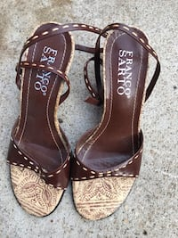 pair of brown leather open-toe heeled sandals  Arlington, 22205