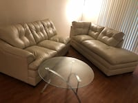 Champagne color leather sectional 2 months old never used must be sold Charlotte, 28209