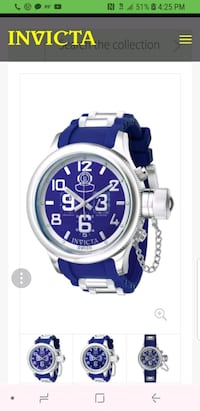 round silver-colored analog watch with blue strap 813 mi