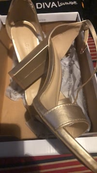 pair of brown leather open toe heels in box Lafayette, 70506