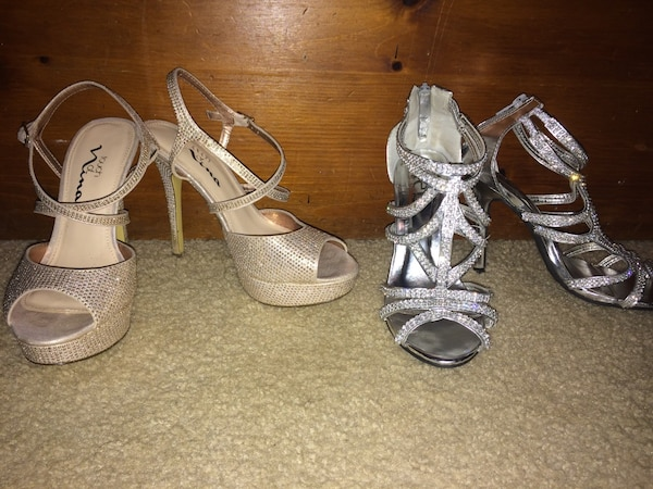 Two pair of women's open toe strappy heels
