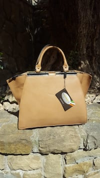 tote bag in pelle marrone e nera Monte Compatri, 00040
