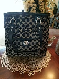 black and gray monogram Coach tote bag Easton, 18042