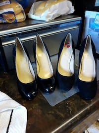 2 pairs patent leather and suede black pumps  Brentwood Bay, V8M 1B4