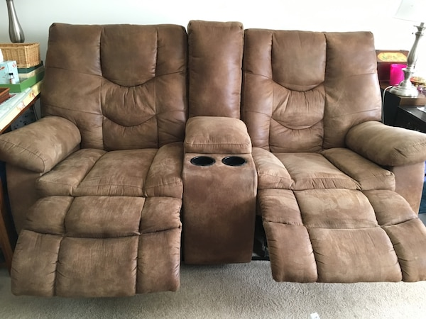 Brown leather love seat recliner sofa