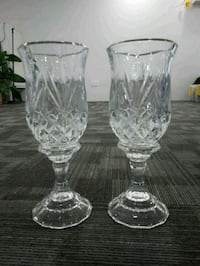 two clear cut glass vases Port Coquitlam, V3C 5B9