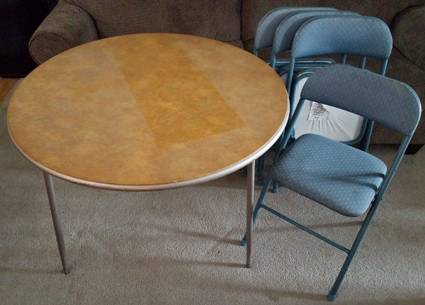 Surprising Used Round Samsonite Folding Table W 4 Chairs For Sale In Pabps2019 Chair Design Images Pabps2019Com