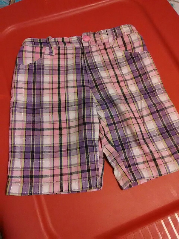 pink and purple plaid shorts
