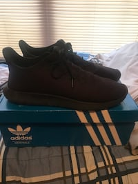 Pair of black adidas low top sneakers on box Garrettsville, 44231