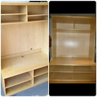 beige wooden T.V wall unit with hutch Ontario, M9W 3C1