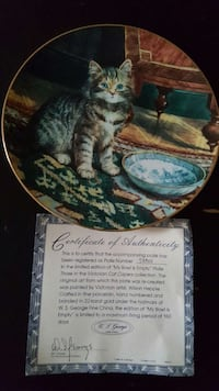 cat print decorative plate with certificate of authenticity Lovettsville, 20180