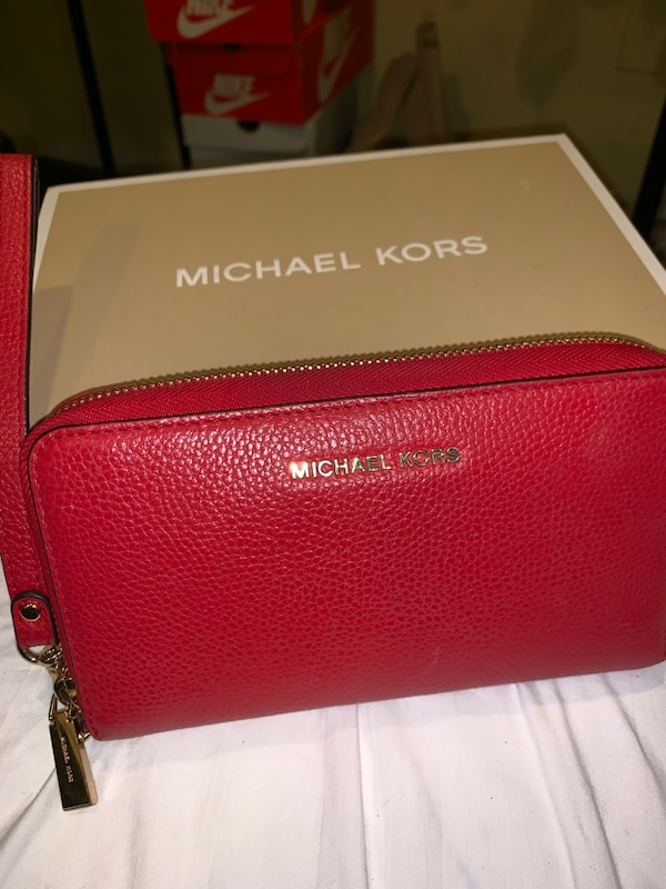 Michael Kors red wristlet wallet