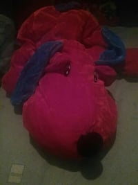 red and blue dog plush toy