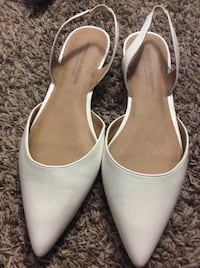 unpaired white leather pointed-toe D'Orsay flats Dover, 19904