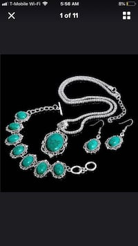 silver and green gemstone necklace Falls Church, 22041