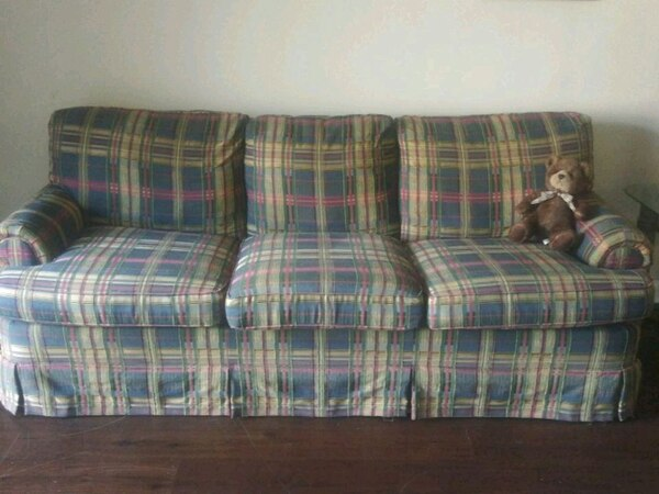 Wondrous Blue And White Plaid 3 Seat Sofa Gamerscity Chair Design For Home Gamerscityorg