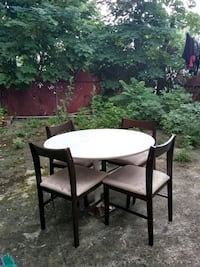 round white wooden table with four chairs dining set Philadelphia, 19104