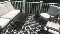 Black and grey patio set with outdoor area rug. 1 year old... moving sale!!!:)))