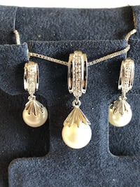 Sterling silver 8 mm pearl and diamond set Lexington, 40503