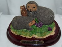 Vintage figure of hedgehogs on a wood base made by the Ruby collection Edmonton