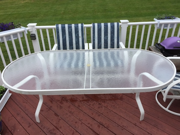 Large White Powdered aluminum and glass outdoor table.