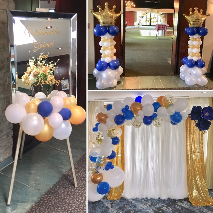 Balloon and paper flower decor