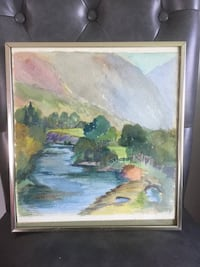 Vintage framed original watercolor painting View of River 科奎特兰