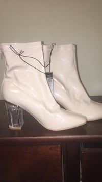 White patent leather lucite heeled mid-calf boots Thomasville, 27360