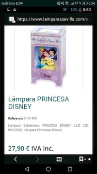 Lampara princesa disney nueva