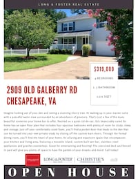 HOUSE For Sale 4+BR 2.5BA Chesapeake