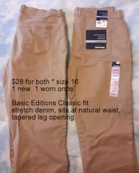 2 Pair size 16 Basic Editions Beige Jeans Martinsburg, WV, USA