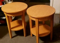 two round brown wooden side tables Rochester, 14623