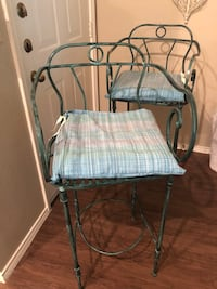Distressed green countertop wrought iron chairs Austin, 78759