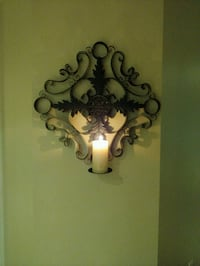 Wrought Iron Scroll Wall Candle Holder  Brampton