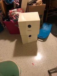 6 folding wooden white storage cubes with latch fold into each other  Mount Holly, 28120