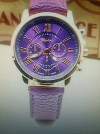 round silver chronograph watch with purple leather Summerfield, 27358