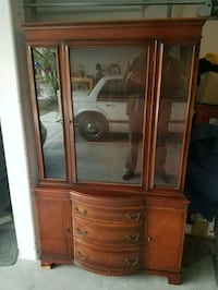 Glass fronted wooden hutch