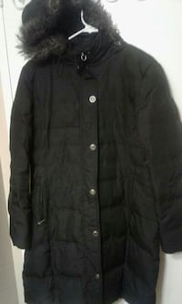 Black button-up coat with hood London, N6G 3R9