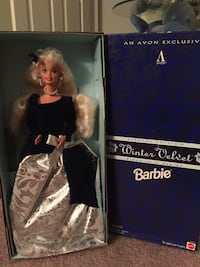 Blonde haired winter velvet barbie doll Reston, 20191