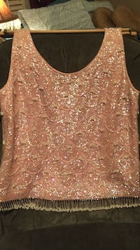 brown glittered tank top