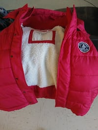 red and white Abercrombie and Fitch bubble button-