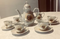 White and brown ceramic tea set Vaughan, L4J 0J8