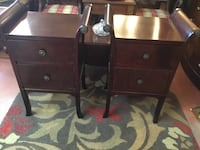 Two brown wooden 2-drawer side tables